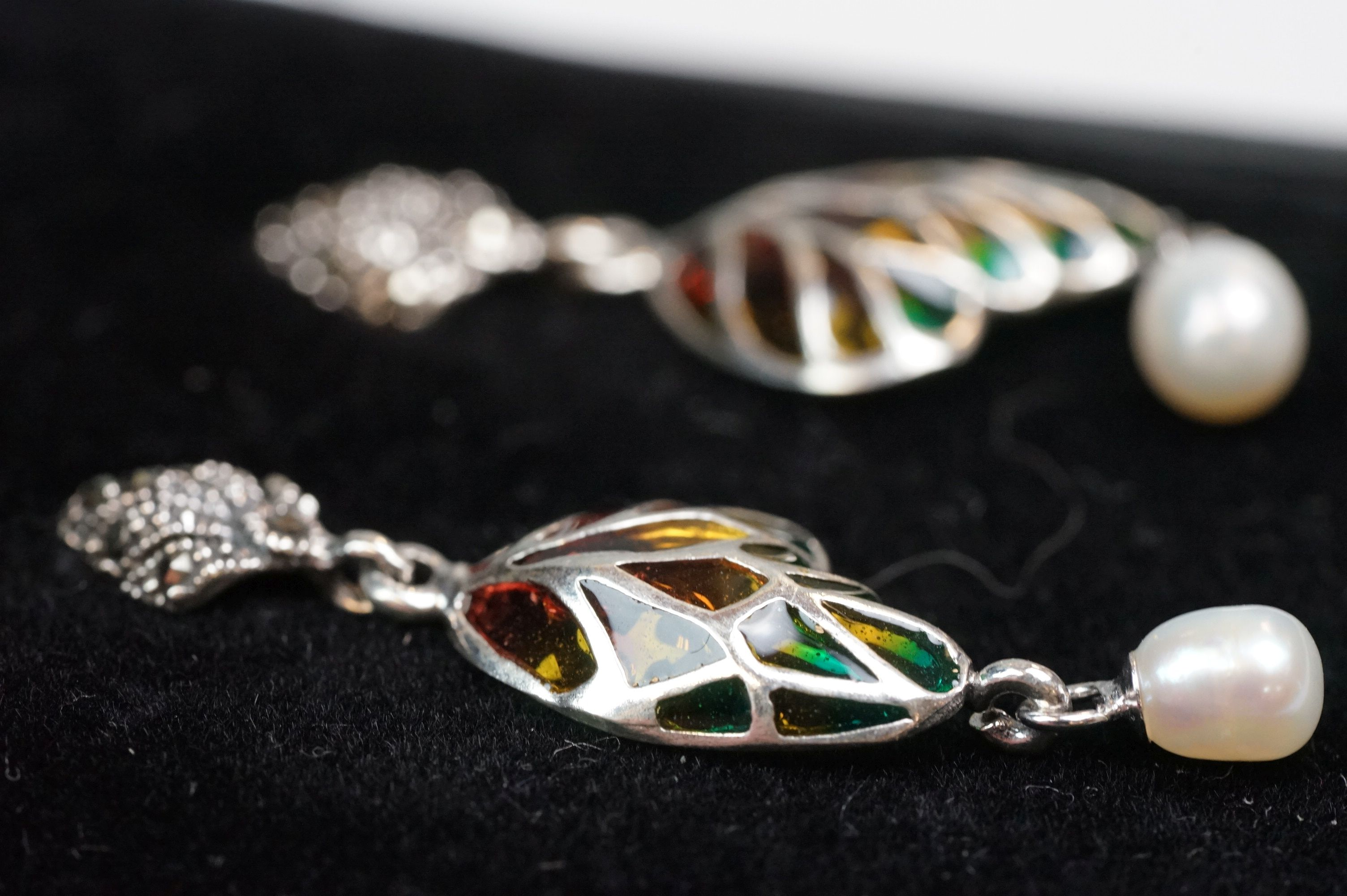 Pair of silver plique-a-jour drop earrings - Image 3 of 4