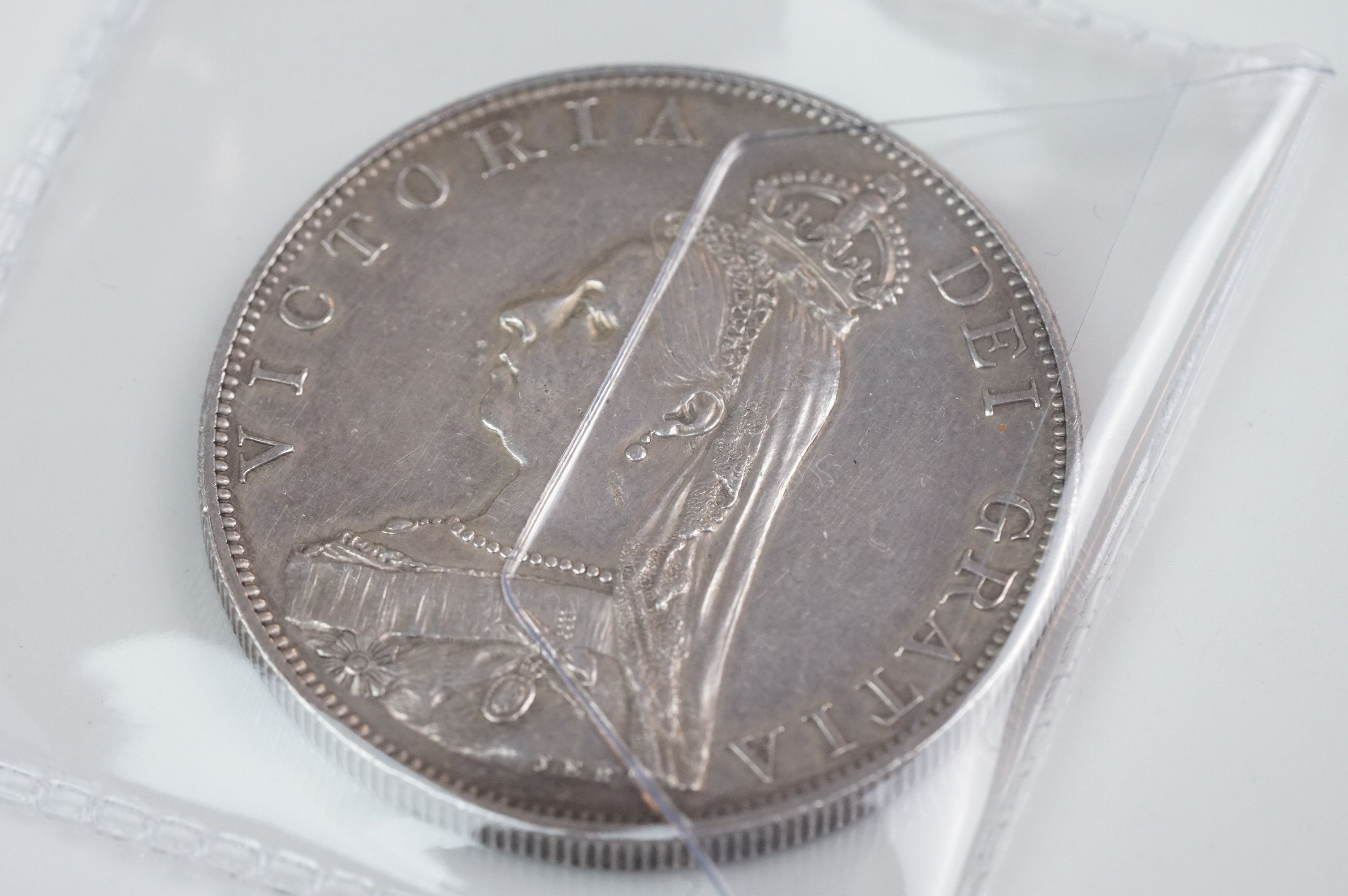 A collection of five Victorian silver coins to include two double florins, two florins and a - Image 7 of 11