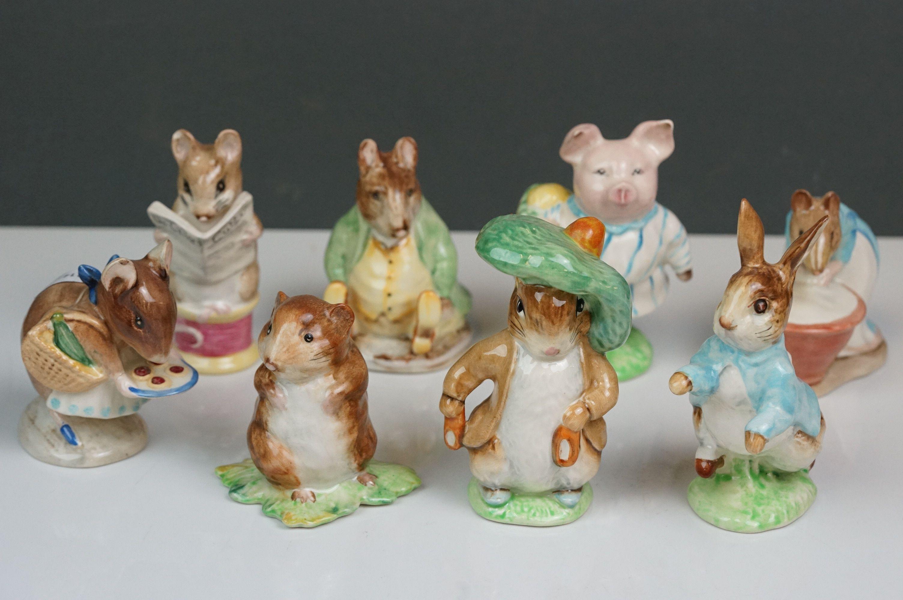 Eight Beswick Beatrix Potter figures comprising Appley Dapply; Timmy Willie; Peter Rabbit; Samuel