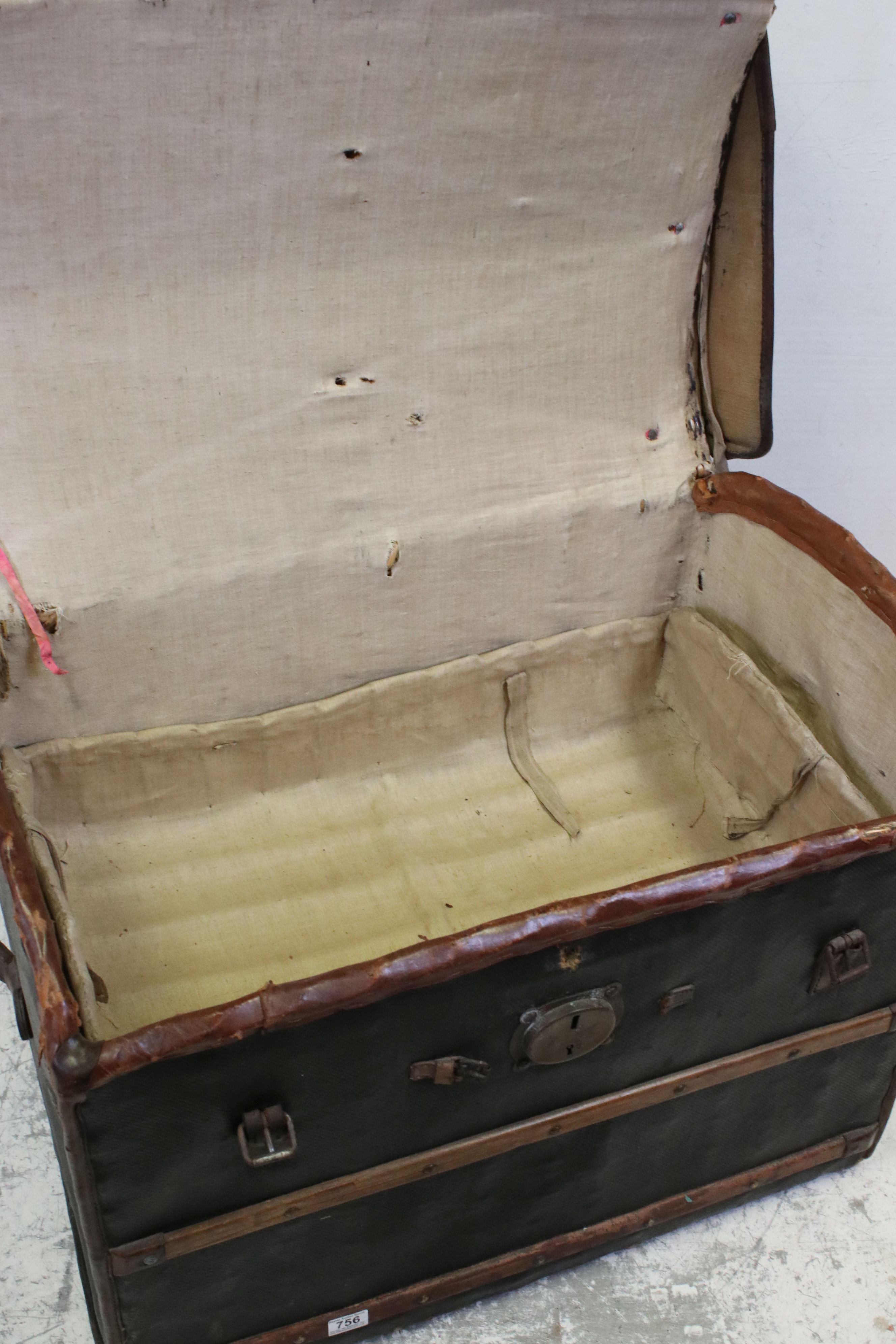 19th century Domed Top Wicker Leather Bound Travelling Trunk with Drop-in Tray, 82cms long x 66cms - Image 3 of 7
