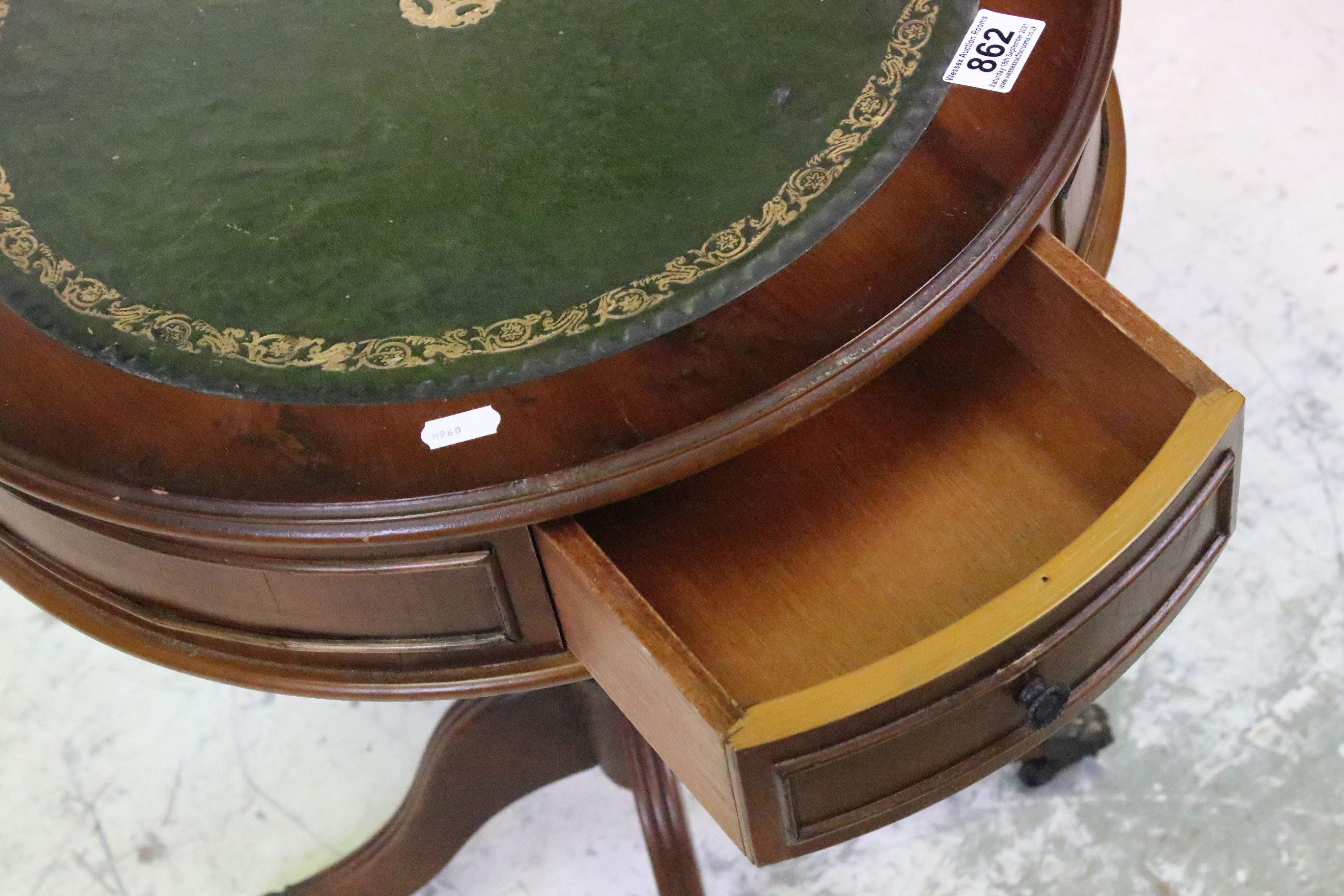 Reproduction Drum Table with Green Leather Inset Top, 49cms wide x 62cms high - Image 2 of 4