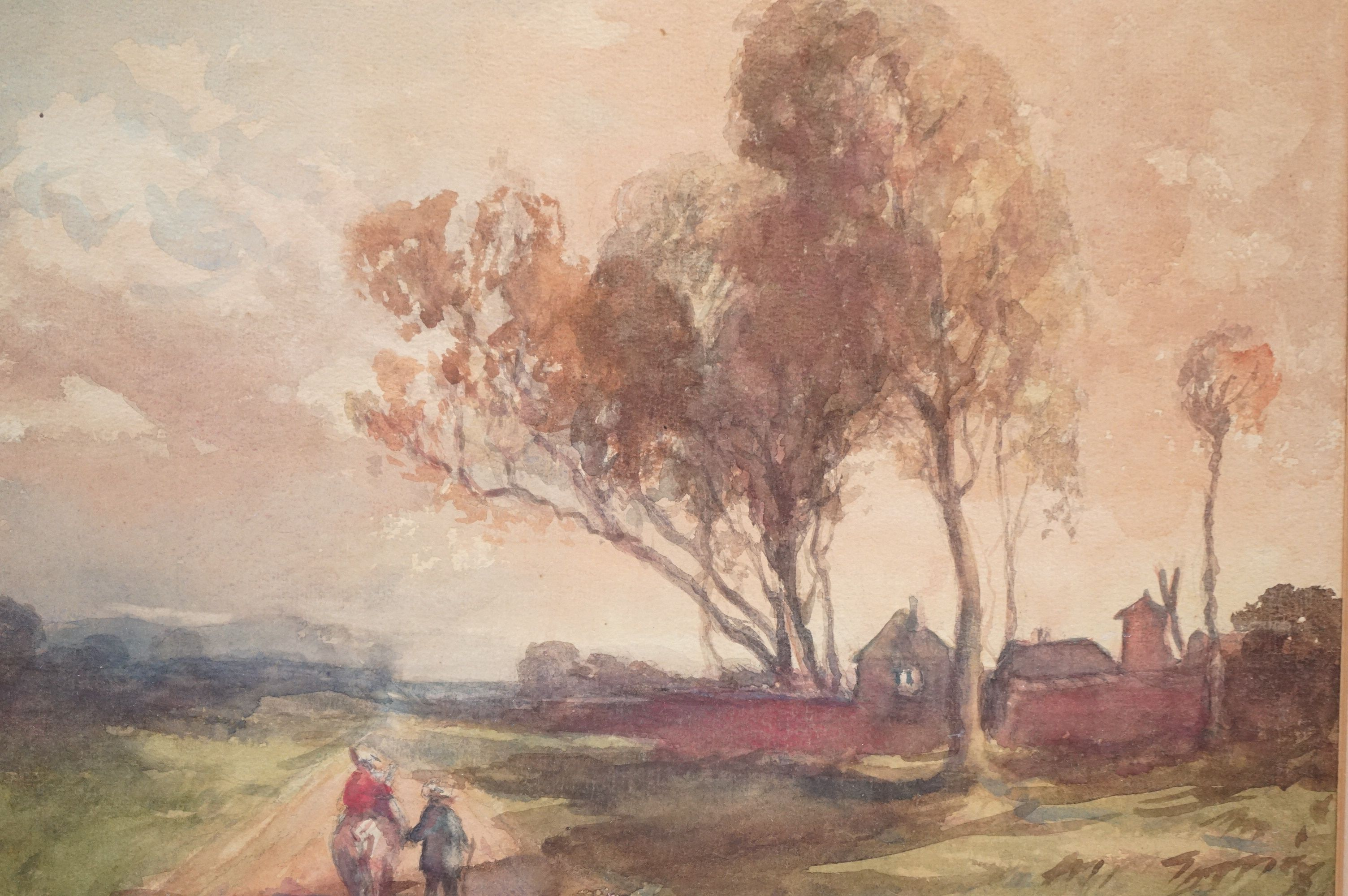 Late 19th / Early 20th century Watercolour titled ' Peasants returning home at eventide ', 34cms x - Image 2 of 4