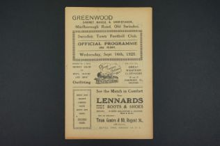 1925/26 Swindon Town v Bristol Rovers football programme played 16th Sept 1925, staples removed,