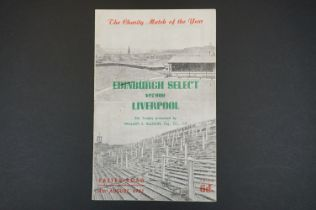 1951 Edinburgh Select v Liverpool Charity Match football programme played 4th Aug 1951, t/c in