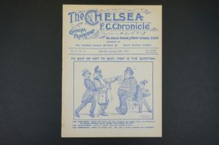 1914/15 Chelsea v Swindon Town FAC 1st rnd replay football programme played 16th Jan 1915, ex
