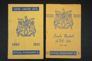 Two Leeds United home football programmes to include v Brentford 23rd Dec 1950 and QPR 3rd Nov 1951,
