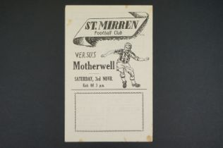 1951/52 St Mirren v Motherwell football programme played 3rd Nov 1951,some foxing marks, gd overall