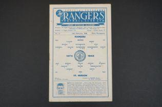 1947/48 Rangers v St Mirren football programme played 14th Fen 1948, scoreboard page filled in