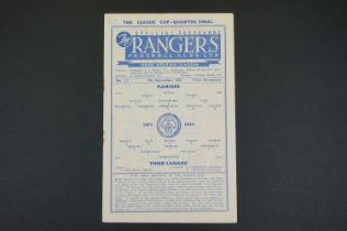 1952/53 Rangers v Third Lanark football programme played 13th Sept 1952 in League Cup Quarter Final,