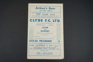 1952/53 Clyde v Rangers football programme played 15th Nov, foxing marks and pencil writing to