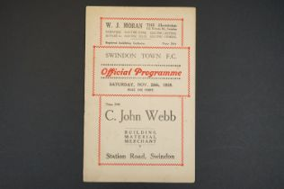 1938/39 Swindon Town v Lowescroft football programme played 26th Nov 1938 in FAC, scores noted,