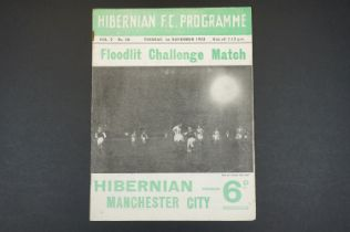 1955 Hibernain v Manchester City football programme played 1st Nov 1955 Floodlight Challenge