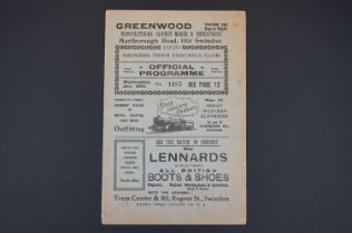 1928/29 Swindon Town v Burnley football programme played 30th Jan 1929 in FAC, some wear to bottom