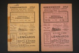 Two 1920's Swindon Town home FAC football programmes to include v Newcastle United 12th Jan 1929 (