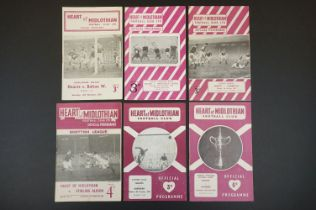 Six 1950s Hearts home football programmes to include Challenge Match v Bolton Wanderers 16th Feb