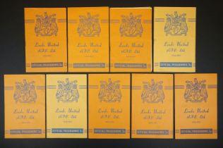 Nine 1952/53 Leeds United home football programmes to include v Hull, Fulham, Birmingham, Bury,