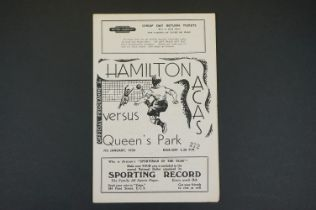 1949/50 Hamilton v Queen's Park football programme played 7th Jan 1950, folded, pencil scores in