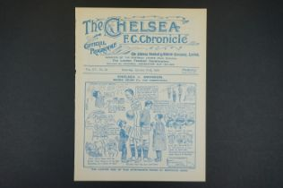 1919/20 Chelsea v Swindon Town football programme played 31st Jan 1920 in FAC 2nd rnd, ex bound