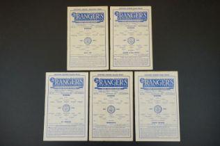 Five 1952/53 Rangers home football programmes to include v Hibernian 11th Oct 1952, Raith Rovers