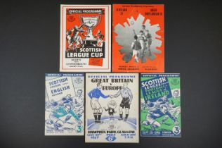 Four 1940/50s representative football programmes to include Scottish League v Football League of