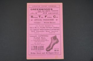 1931/32 Swindon Town v Bristol Rovers football programme played 10th Oct 1931, vg