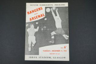 1953 Rangers v Arsenal football programme played 8th Dec 1953, floodlight friendly, vertical fold,