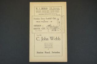 1937/38 Swindon Town v Bristol City football programme played 4th May 1938 vg