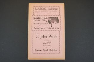1933/34 Swindon Town v Bristol City football programme played 20th Jan 1934 vg with some