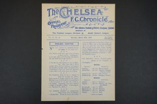 1914/15 Chelsea v Swindon Town football programme played 27th March 1915 in SEL, ex bound issue, gd