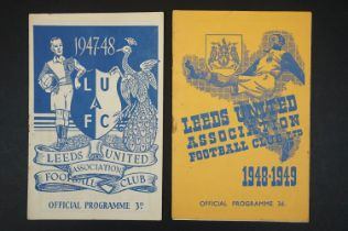Two Leeds United 1940s home football programmes to include v Doncaster 11th Oct 1947 (pen t/c) and v