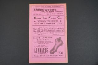1931/32 Swindon Town v Coventry City football programme played 21st Nov 1931, some edge wear, vg