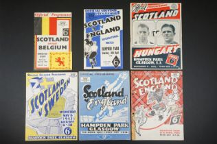 Six 1940/50s Scotland home football programmes to include v Belgium 28th Apr 1948, Ebgland 10th