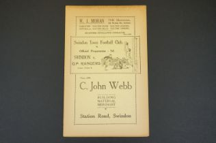 1937/38 Swinton Town v Queens Park Rangers QPR football programme played 28th Dec 1937, some