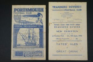 Tranmere Rovers v New Brighton football programme played 18th Sept 1948 in 3rd Div North, foxing