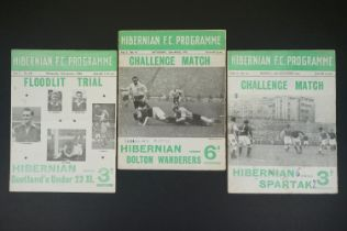 Three 1950s Hibernian football programmes to include Challenge Match v Bolton Wanderers played