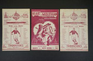 Three 1950s Hearts football programmes to include v Raith Rovers 11th Aug 1951 (heavy foxing marks),