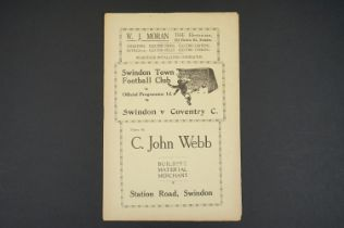 1933/34 Swindon Town v Coventry City football programme played 3rd Feb 1934 vg with some