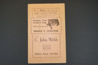 1934/35 Swindon Town v Chesterfield football programme played 12th jan 1935 in FAC, folded, writing,