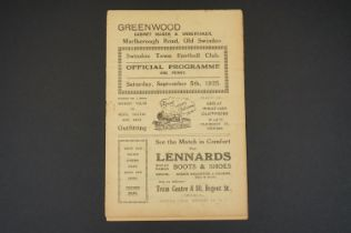 1925/26 Swindon Town v Charlton Athletic football programme played 5th September 1925, no writing,