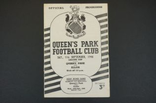1948/49 Queen's Park v Alloa football programme played 11th September 1948 in League Cup, some