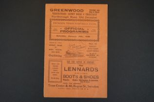 1927/28 Swindon Town v Clapton Orient football programme played 14th Jan 1928 in FAC, vertical fold,