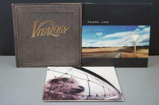 Vinyl - Three Pearl Jam LPs to include Vitalogy on Epic 4778611 embossed sleeve, no booklet, Yield