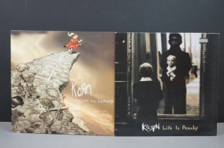 Vinyl - Two Korn LPs to include Follow The Leader on Immortal Epic EOC4912211 & Life Is Peachy on