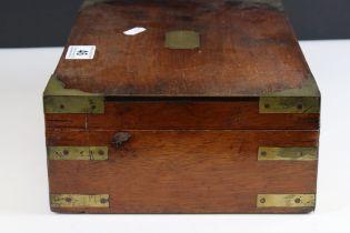 19th century Mahogany Brass Bound Box, 30cms long together with a 19th century Tunbridge Ware Box (