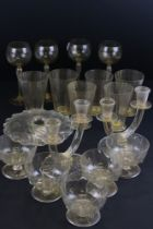 Collection of Venetian Gold Flecked Glassware to include Four hollow stemmed Hock Glasses, Six Water
