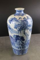 Chinese Blue and White Meiping Plum shaped Vase decorated with figures within a mountainous