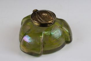 Art Nouveau ' Loetz ' iridescent glass Inkwell with a green trail work design, the brass lid stamped