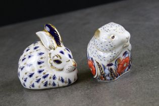 Two Royal Crown Derby Ceramic Paperweights - Collectors Club Exclusive ' Poppy Mouse ' and Rabbit,