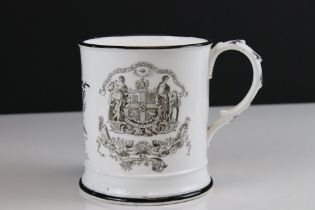 Early 19th century Transfer Printed Mug inscribed with the initials G H ' and ' Manchester Unity