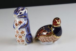 Two Royal Crown Derby Ceramic Paperweights - Limited Edition Partridge and Chipmunk, both with